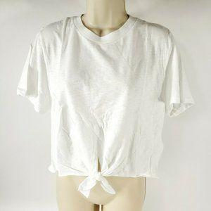 Topshop Crop Top Crew Shirt Short Sleeve Tie Front